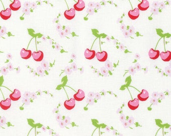 Tanya Whelan - Rambling Rose - Cherries White by FreeSpirit Fabrics Cotton Quilting Fabric by meter (1.1 yard)