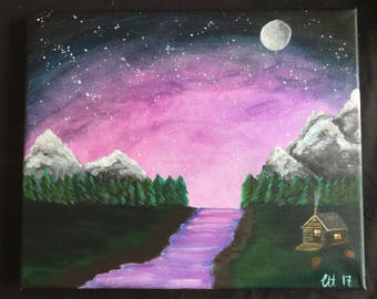 Solitude - Original acrylic painting / Montains sky trees