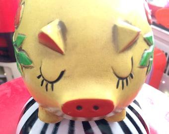 Pride Creations yellow piggy bank, papier mache, 1960s kitsch