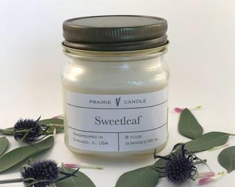 Sweetleaf soy candle, sweet pine candle