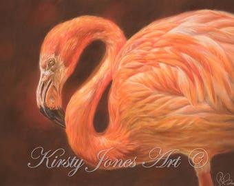 Flamingo Wildlife High Quality Print Drawing Pastel Painting