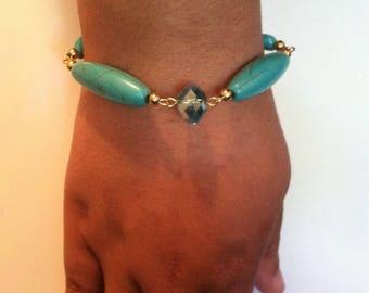 3 piece set turquoise & gold