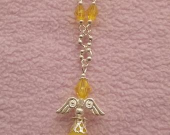 Stunning sunshine yellow angel necklace