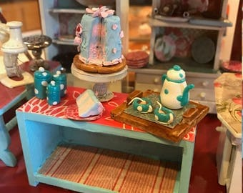 Strawberry Cake with Blue Raspberry Icing - 12th Scale Miniature Food