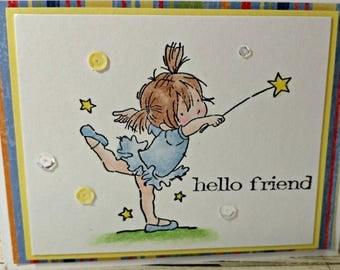 Handstamped, handmade Friend Card