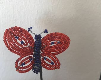 French beaded butterfly stick