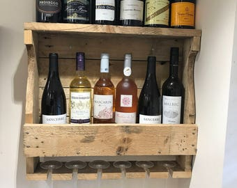 Unique reclaimed wood wine rack with glass storage - custom size