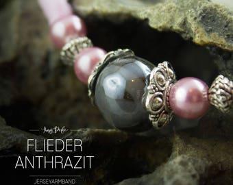 Jersey fabric bracelet with large glänzenderPerle - lilac/anthracite