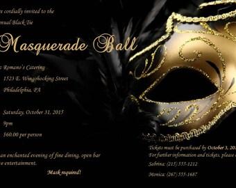 Digital Custom Masquerade Party Invitations