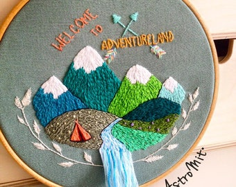 Frame embroidery hand Welcome to Adventureland