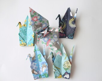 10 large 6'' My Neighbor Totoro Origami paper crane,Summer,Make a wish,Washi Chiyogami,Cute Origami crane,wedding,party,Decoration,Make card