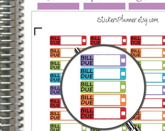 Bill Due Stickers Bill Due Planner Stickers Functional Planner Erin Condren Stickers Erin Condren Planner Happy Planner Rainbow Stickers n10