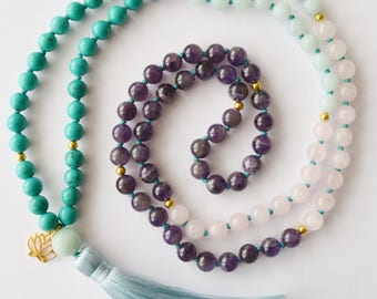 Blooming Lotus Mala mala beads hand-knotted necklace turquoise gemstones 108 Amazonite Rose Quartz Amethyst lotus charm silk tassel