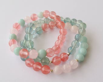 Bloom Mala bracelet set of 3 bracelets 8 mm gemstone beads green fluorite Rose Quartz cherry quartz Amazonite silver spacer beads