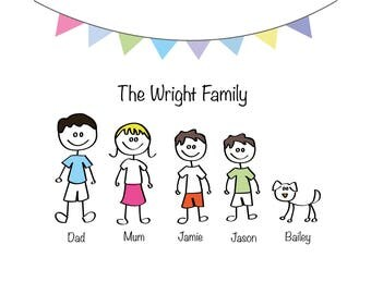 Personalised Stick Cartoon Family Portrait/Family Tree | Perfect Gift or Home Addition |  Made to Order