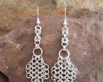 chainmaille earrings handmade, sterling silver and aluminum