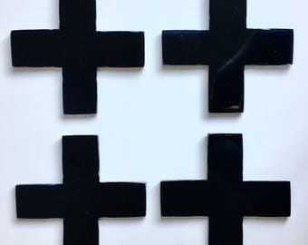 Resin Cross Coasters - Black