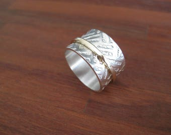 Etched Stirling Silver and 9ct Gold Spinning Ring