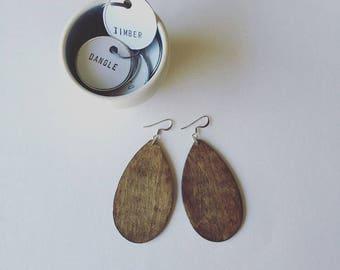 Handmade tear drop dangle wooden Statement Earring