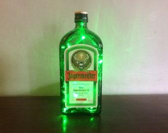 Upcycled Jagermeister Glass Bottle Led Light, Lamp