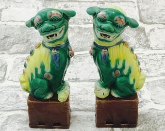 A pair of Chinese Foo Dogs, Guardian Lion Statues Ornaments, Green and Lime Porcelain Foo Dog Miniature Ornaments