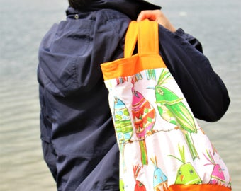 Multi-pocket reversible bucket tote - 'Orange you happy'