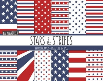 Patriotic Digital Paper Package with Stars and Stripes Patterns. American Flag Red and Blue Backgrounds. 4th July Digital Scrapbook