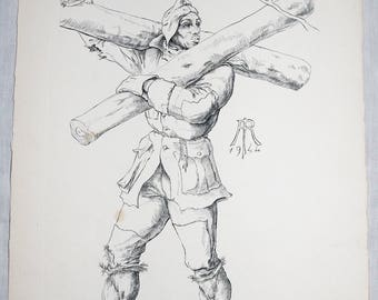 Etching signed SC. r HAASEN JOHANNOT 28 x 38 cm character paper