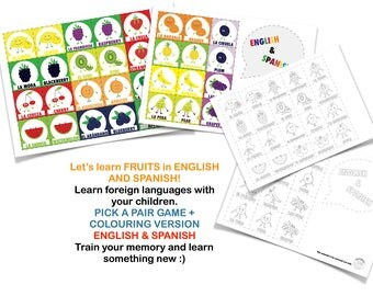 English and Spanish fruits: Pick a pair game, instant download, high quality