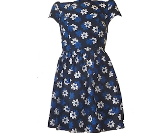 Vintage blue floral summer dress