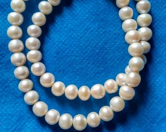 Natural gemstone pearl beads 6x6 mm strand 16 inch.