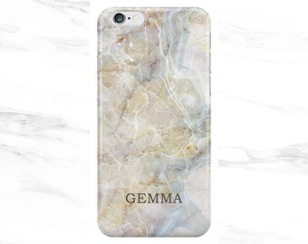 Personalised Name initials Natural Stone Marble Phone Case Cover for Apple iPhone 5 6 6s 7 8 10 X Plus & Samsung Galaxy Customized Monogram