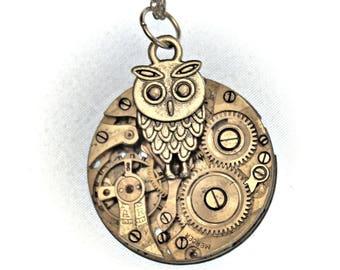 Silver Owl Pocket Watch Necklace