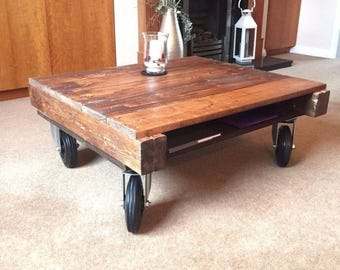 Industrial wooden pallet coffee table