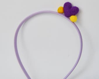 Girls headband with felted heart,  cute and colorful