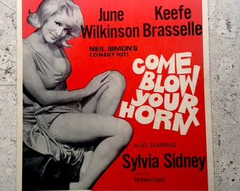 """Free shipping. Neil Simon's """"Come Blow Your Horn"""". 1970s theatre poster."""
