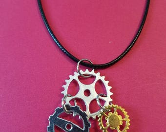 Silver and Gold Toned Steampunk Gear Necklace