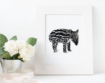 Baby Tapir Printable, Watercolor Digital Print File