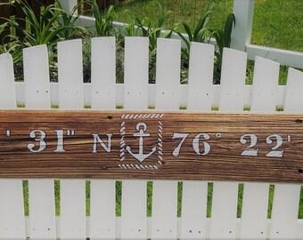 """Nautical Anchor Longitude/ Latitude Sign 44"""" or 34"""" x 6"""""""