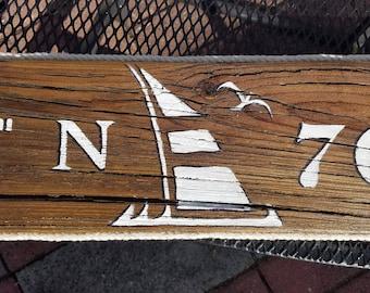 "Nautical Sailboat Longitude/ Latitude Sign 34"" or 44"" x 6"""