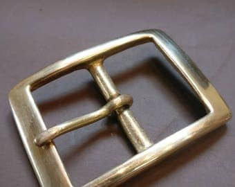 Solid Brass Rectangle Belt Buckle