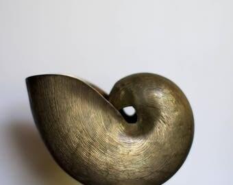 Vintage Brass Seashell Planter