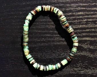Mixed Green & Brown Shell Bracelet