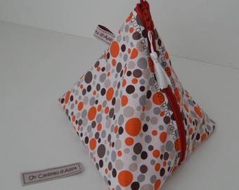 orange, grey and Brown dot cotton pouch