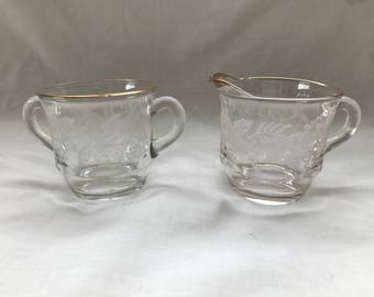 Vintage Etched Cream and Sugar Bowl