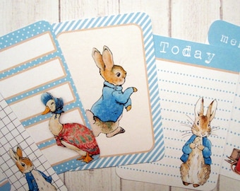 8 Peter Rabbit, Beatrix Potter Project Life cards, journaling cards, junk journal, scrapbooking tags, baby shower, boy, 3x4 handmade cards