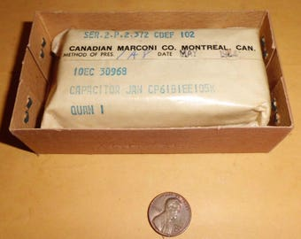 Vintage 1960s Paper Capacitor 1uF/400V by Canadian Marconi CP61B1EE105K-Military Stock