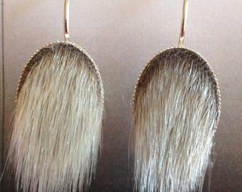 Sealskin Earrings - Oval