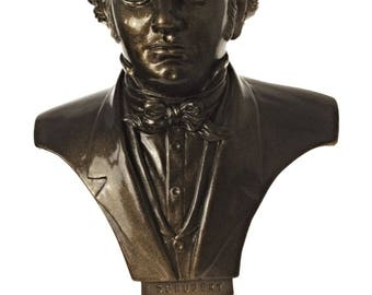 Bust statue of FRANZ PETER SCHUBERT rich in details - brilliant bronze patina