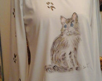 the cat, cotton t-shirt, hand painted